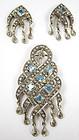 Lovely Sterling 14k Diamond Mogual Pendant & Earrings