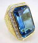 Colossal 18K 65 Carat London Blue Topaz Diamond Ring