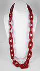 Ravishing Red Translucent Resin Link Necklace