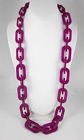 Fierce Hot Pink Translucent Resin Link Necklace