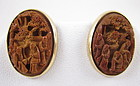 Lovely Chinese 14K Carved Seed Nut Earrings