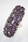 Dramatic Gilt Sterling Faceted Amethyst Statement Ring