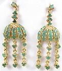 Emerald Sterling Gold Vermeil Chandelier Earrings
