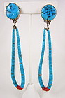 Santo Domingo Turquoise & Coral Jacla Dangling Earrings