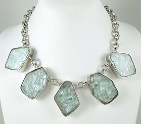 Bold Kenny Hwang Sterling Crackle Glass Necklace