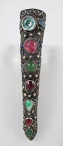 Chinese Export Silver Jade Garnet Finger Nail Cover Pin