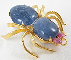 Sterling Gold Vermeil Sapphire Ruby Spider Pin