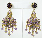 Sterling Amethyst & Sapphire Chandelier Earrings
