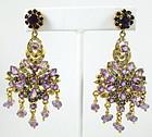 Sterling Amethyst & Sapphire Chandelier Earrings