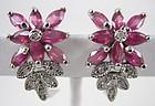 Lovely Sterling Ruby & Diamond Flower Earrings