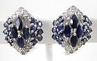Beautiful Sterling Sapphire Diamond Cluster Earrings