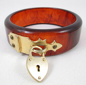 Unique Tortoise Bakelite Bracelet with Padlock Hardware
