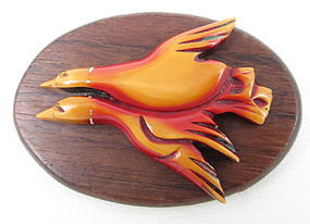 Wonderful Bakelite Overdyed Wood Flying Duck Pin