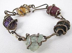 Caged Arthur King Sterling Stone Modernist Bracelet