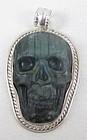 Unusual Silvertone Labradorite Tibetan Skull Pendant