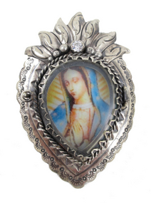 Stunning Barbosa Virgin Mary Reliquary Pin/Pendant