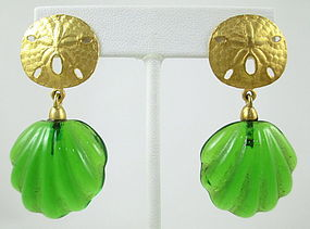 Andrew Spingarn Poured Glass Sand Dollar Earrings