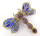 Gorgeous Andrew Spingarn Poured Glass Dragonfly Pin