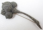 Beautiful Judith Jack Sterling Marcasite Rose Pin