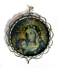 Sterling Silver Mary/Child Religious Peruvian Pendant