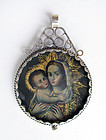Sterling Silver Mary & Child Religious Peruvian Pendant