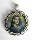 Sterling Silver Virgin Mary Religious Peruvian Pendant
