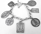Vintage Sterling Silver Religious Themed Charm Bracelet