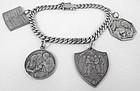 Vintage Sterling Silver Christening Charm Bracelet