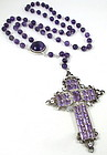 Gorgeous Sterling Amethyst & Aquamarine Rosary Necklace