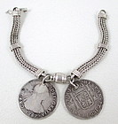 Sterling Antique King Charles III 2 Reale Coin Bracelet