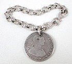 Sterling Antique King Charles III 4 Reale Coin Bracelet