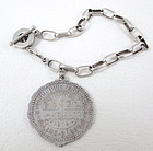 Sterling Charm Bracelet w/ Antique French Medallion