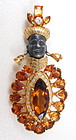 Elegant Sterling Gold Vermeil Topaz Blackamoor Pin