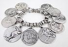 Bold Vintage Sterling Charm Bracelet w/ Sports Medals