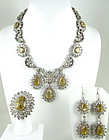 Magnificent Sterling Citrine Aquamarine Necklace Set