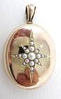 Classic 14k Seed Pearl Victorian Star Locket