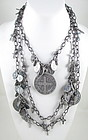 Unusual LONG Silvertone Vintage Holy Medals Necklace