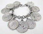 Great Vintage Sterling Charm Bracelet w/ Sports Medals
