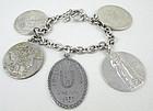 Vintage Sterling Bracelet w/ Vintage Academic Medals
