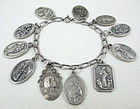Vintage Sterling Bracelet w/ Religious Holy Medal Charm