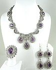 Magnificent Sterling Amethyst Aquamarine Necklace Set