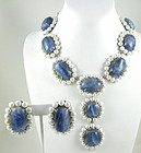 Incredible Sterling Sapphire Pearl Bib Necklace Set