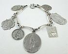 Vintage Sterling 18K Holy Medals Charm Bracelet