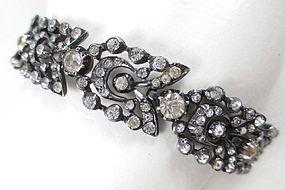 Stunning Antique French Paste Silver Bracelet