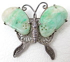 Lovely Chinese Sterling Filigree Jade Butterfly Pin