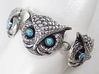 Whimsical Federico Sterling Turquoise Owl Bracelet