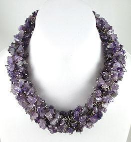 Emilia Los Castillo Sterling Amethyst Nugget Necklace