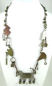 Unusual Vintage Sterling Brass Thomas Mann Cat Necklace