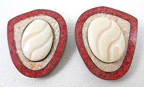 Unusual Celia Sebiri Bone & Stone Inlay Earrings