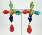 Dramatic Christian Lacroix Gripoix Glass Clip Earrings